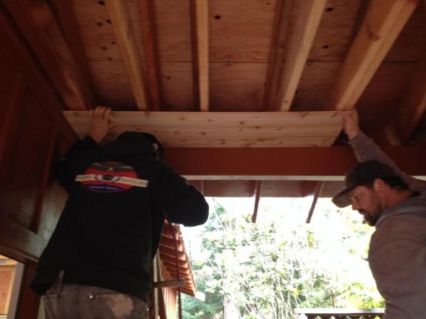 Sean and Matt starting the cedar ceiling
