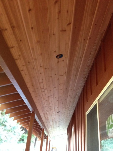 Ceiling for covered walkway finished