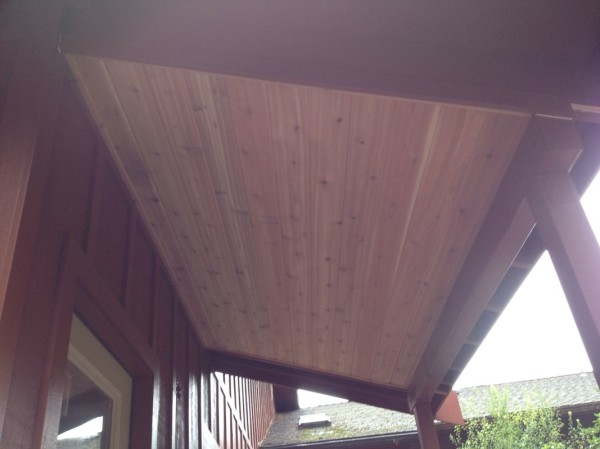 Front porch overhang with final trim