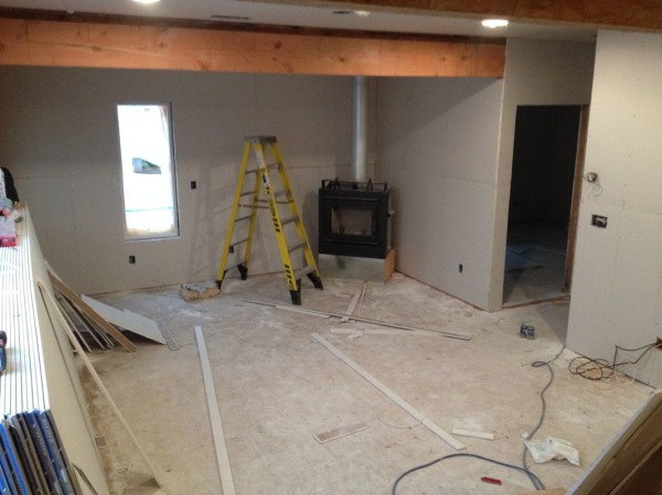 Living room sheetrock nearly complete