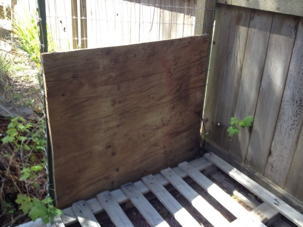 Plywood to keep content inside the bins