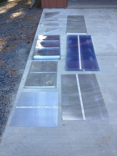 All polycarbonate panels laid out together