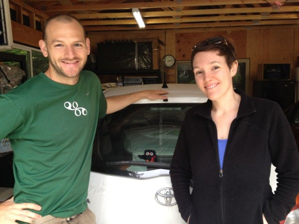 Jessie, me, and our trip mascot, Archimedes. This was taken just before we pulled out of our garage in Humboldt.